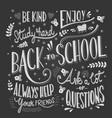 back to school typography drawing on blackboard vector image vector image