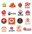 biggest collection logos sushi vector image