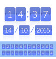 blue countdown timer and scoreboard numbers vector image vector image