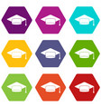 cap student icon set color hexahedron vector image