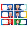 caricatures six presidential democrat candidates vector image vector image