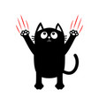 cartoon black cat red bloody claws animal scratch vector image vector image