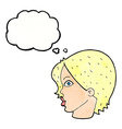 cartoon female face staring with thought bubble vector image vector image