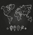 chalkboard with doodle world map and pins vector image