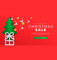 christmas sale paper cut gift box web template vector image