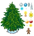 Christmas tree and big toy set for decoration vector image