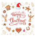 circle made of christmas decorative elements vector image