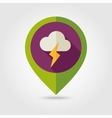 Cloud Lightning flat pin map icon Weather vector image vector image