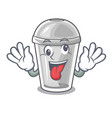 crazy plastic cup on a cartoon table vector image vector image
