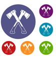 crossed axes icons set vector image vector image