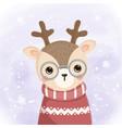 cute reindeer wearing glasses in winter vector image vector image