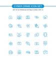 cyber crime icons set vector image