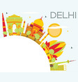 delhi skyline with color buildings blue sky and vector image vector image