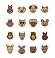 different animals icons set brown pet vector image