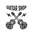 emblem with crossed guitars design elements vector image