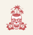 fancy skull in sunglasses with hibiscus t-shirt vector image
