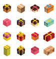 gift icons and present boxes in isomertic style vector image