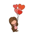 girl dragged by heart-shaped balloons vector image vector image