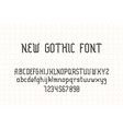 gothic typeface english letters numbers vintage vector image