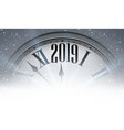 grey 2019 new year background with clock greeting vector image vector image