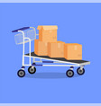 hand cart with boxes vector image vector image