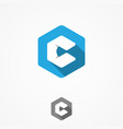hexagon with letter c vector image