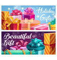 holiday gifts wedding and birthday gift boxes vector image vector image