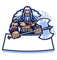 huge nordic warrior mascot hold big axe weapon vector image vector image