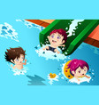kids having fun in the swimming pool vector image vector image