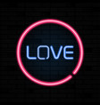love heart pink neon sign letters on brick wall vector image vector image