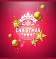 merry christmas with gold glass ball vector image vector image