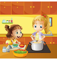 Mother and daughter cooking together vector image vector image
