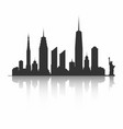 new york city skyline silhouette skyscrapers vector image
