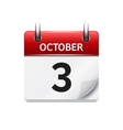 October 3 flat daily calendar icon Date vector image vector image