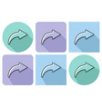 outlined icon of right curved arrow with parallel vector image vector image