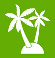 palm trees icon green vector image vector image