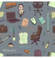 Pattern of creative hand drawn office workspace vector image vector image
