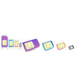 realistic sim cards icon set with different vector image vector image