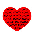 red heart icon xoxo phrase sketch saying hugs and vector image vector image