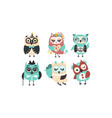 set cartoon owls on a vector image vector image