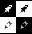 set rocket ship with fire icons isolated on black vector image