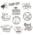 set vintage thank you badges labels vector image vector image