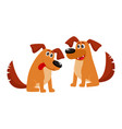two funny brown dog characters sitting friendly vector image vector image