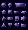 violet glass plates set textured frames with glow vector image