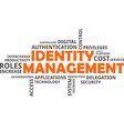 word cloud identity management vector image vector image