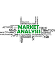 word cloud market analysis vector image vector image