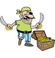 Cartoon Pirate with treasure vector image