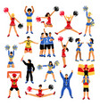 football players cheerleaders and fans set vector image