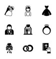 9 bride filled icons set isolated on white vector image vector image