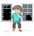a trouble young boy vector image vector image